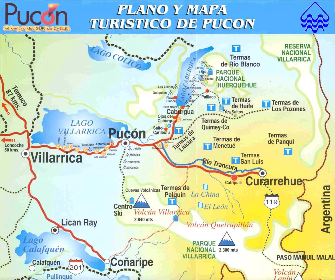 map of pucon chile Maps Of Towns And Cities In Southern Chile map of pucon chile