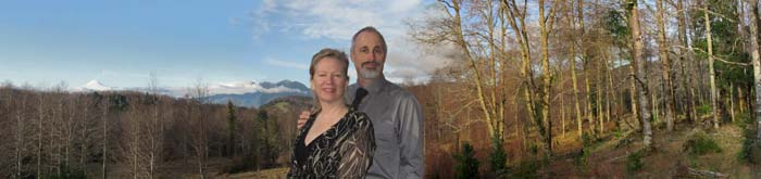 MJeanette & Martin Schnall standing at their Panguipulli property in Fundo el Sombrero