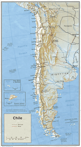 Chile relief map